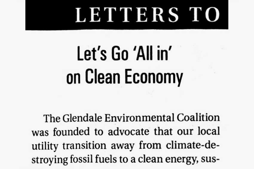 Glendale News Press Let's Go All In On Clean Energy