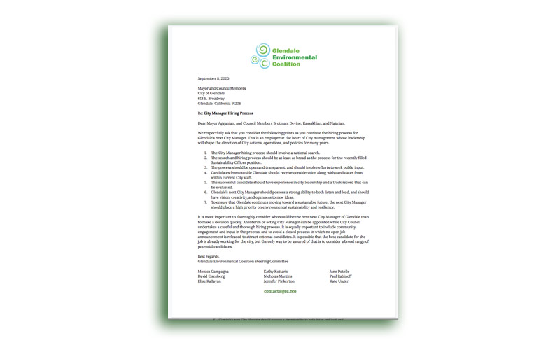 GEC Submits Letter RE: City Manager Hiring Process
