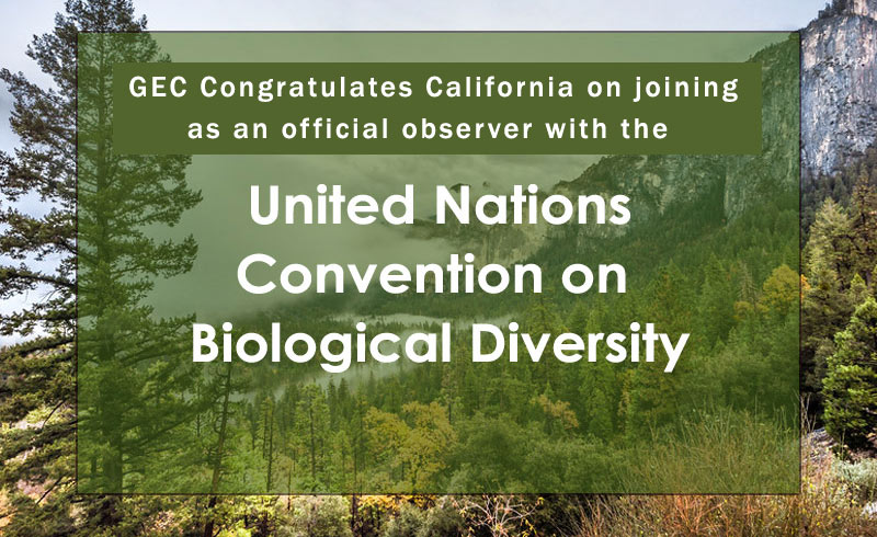 California has become an official Observer with the Convention on Biological Diversity